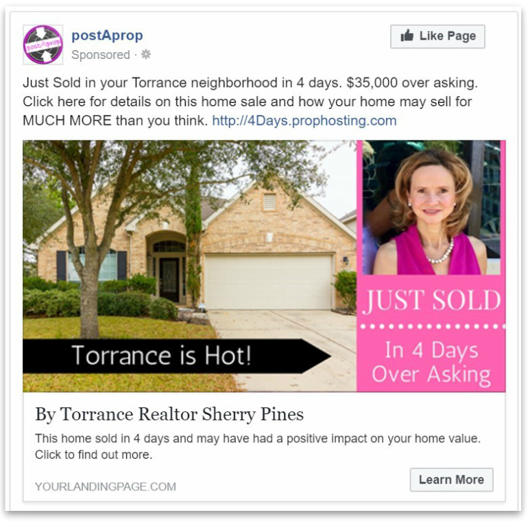 Just Sold Facebook Ad Example